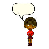 Cartoon woman waiting patiently with speech bubble Royalty Free Stock Images