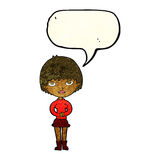 cartoon woman waiting patiently with speech bubble Royalty Free Stock Photos