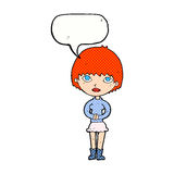 cartoon woman waiting patiently with speech bubble Royalty Free Stock Photo