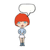 cartoon woman waiting patiently with speech bubble Stock Photo