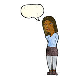 Cartoon woman waiting with speech bubble Stock Image