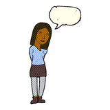 Cartoon woman waiting with speech bubble Stock Images