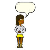 Cartoon woman waiting with speech bubble Stock Photography