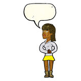 Cartoon woman waiting with speech bubble Royalty Free Stock Image
