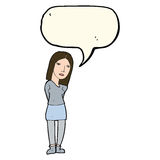 Cartoon woman waiting with speech bubble Stock Photo