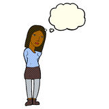 Cartoon woman waiting with thought bubble Stock Images