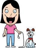 Cartoon Woman Walking Dog Stock Photography