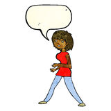Cartoon woman walking with speech bubble Royalty Free Stock Photo