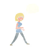 Cartoon woman walking with thought bubble Royalty Free Stock Photography