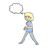Cartoon woman walking with thought bubble Stock Photo