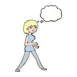 Cartoon woman walking with thought bubble Stock Photos