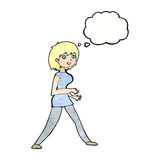 Cartoon woman walking with thought bubble Royalty Free Stock Photo