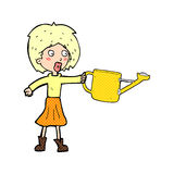 cartoon woman with watering can Royalty Free Stock Photography