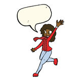 Cartoon woman waving dressed for winter with speech bubble Royalty Free Stock Photography