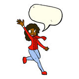 Cartoon woman waving dressed for winter with speech bubble Stock Image