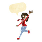 Cartoon woman waving dressed for winter with speech bubble Stock Photography