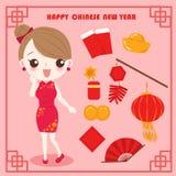 Cartoon woman wear cheongsam Stock Photos