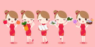 Cartoon woman wear cheongsam. With new year on the red background Stock Images