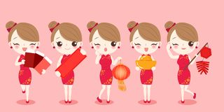 Cartoon woman wear cheongsam Royalty Free Stock Images