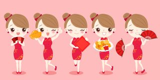 Cartoon woman wear cheongsam. With chinese new year on the red background Royalty Free Stock Photos