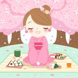 Woman wear kimono. Cartoon woman wear kimono with cherry blossoms vector illustration