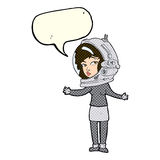 Cartoon woman wearing astronaut helmet with speech bubble Stock Photos