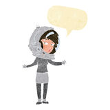 Cartoon woman wearing astronaut helmet with speech bubble Stock Image