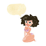 Cartoon woman wearing bikini with speech bubble Stock Images