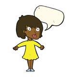 Cartoon woman wearing dress with speech bubble Royalty Free Stock Photo