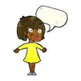 Cartoon woman wearing dress with speech bubble Stock Image