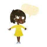 Cartoon woman wearing dress with speech bubble Royalty Free Stock Photos