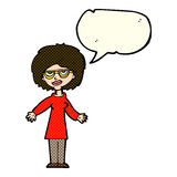 Cartoon woman wearing glasses with speech bubble Stock Photos