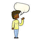 Cartoon woman wearing spectacles with speech bubble Royalty Free Stock Photography