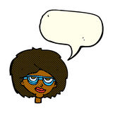 Cartoon woman wearing spectacles with speech bubble Royalty Free Stock Image