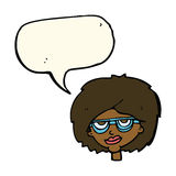 Cartoon woman wearing spectacles with speech bubble Stock Photos