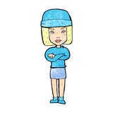 Cartoon woman wearing winter hat Stock Photos