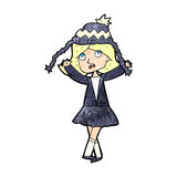 Cartoon woman wearing winter hat Stock Images