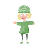 Cartoon woman wearing winter hat Royalty Free Stock Photos