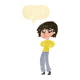 Cartoon woman whistling with speech bubble Royalty Free Stock Photo