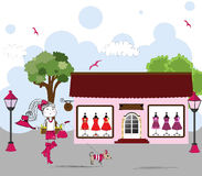 Cartoon of Woman window shopping with dog Royalty Free Stock Photos
