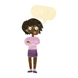 Cartoon woman wit crossed arms with speech bubble Stock Photos