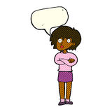Cartoon woman wit crossed arms with speech bubble Royalty Free Stock Images