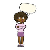 Cartoon woman wit crossed arms with speech bubble Stock Images
