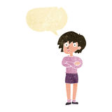 Cartoon woman wit crossed arms with speech bubble Stock Photo