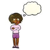 Cartoon woman wit crossed arms with thought bubble Royalty Free Stock Image