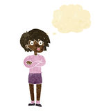 Cartoon woman wit crossed arms with thought bubble Stock Photo