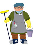 Cartoon woman in yellow gloves  with floor mop Royalty Free Stock Photo