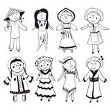 Cartoon women in different traditional costumes Stock Image