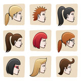 Cartoon women heads. Set of nine funny woman heads from side view. All hair, eyes, outlines, skin surfaces etc., are in separate layers for easy editing Royalty Free Stock Photos