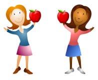 Cartoon Women Holding Apples Royalty Free Stock Photos